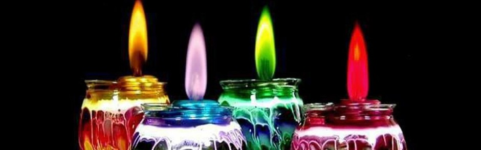 Festive Colored Glass Candles