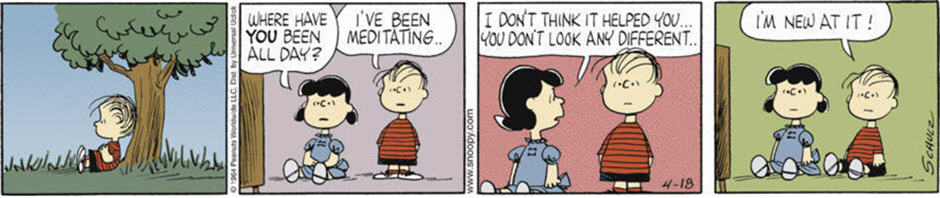 Linus as New Meditator from Peanuts comic strip.