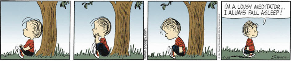 Linus Practices Meditation from Peanuts comic strip.