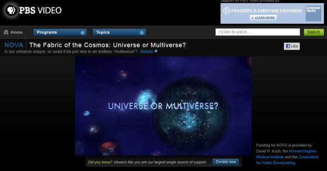 "Image for NOVA's The Fabric of the Cosmos: ""Universe or Multiverse?"""