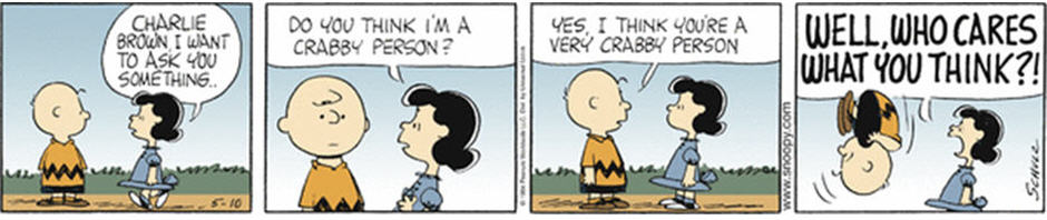 Peanuts comic strip about Lucy's Crabby Truth Poll