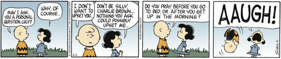 Peanuts comic strip showing Charlie Brown and Lucy on prayer.