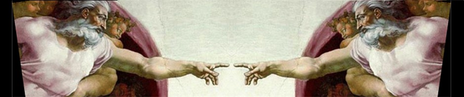 "Sistine Chapel inspired illustration of God-realization: ""God Touching Himself in Oneness"""