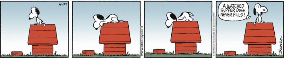 Snoopy Watching His Dog Food Manifest (Peanuts Comic Strip)