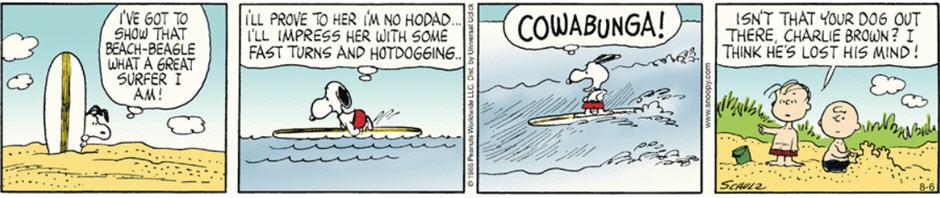 Snoopy Surfing (Peanuts Comic Strip)