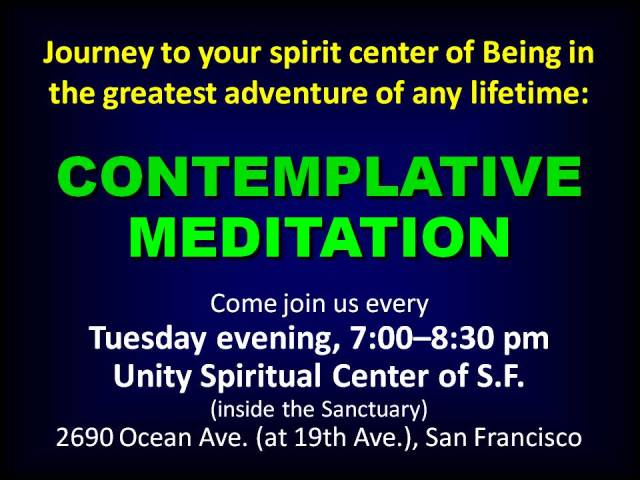 Weekly Tuesday Evening Meditation e-Flyer
