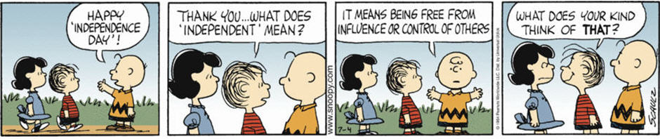 "Peanuts comics strip - ""Charlie Brown & Linus on Freedom"""