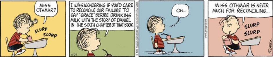 "Comics strip from the comics Peanuts: ""Linus Saying Grace before Milk"""
