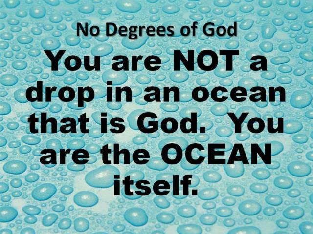 "Illustration of ""No Degrees of God"" in water drop and ocean."