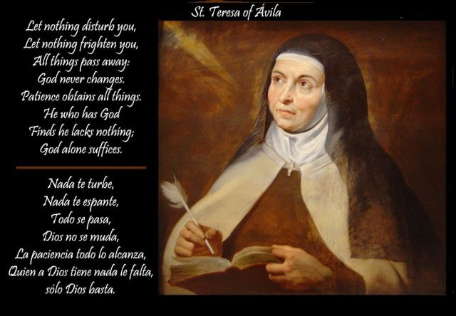 Image of Teresa of Avila, with quotation.