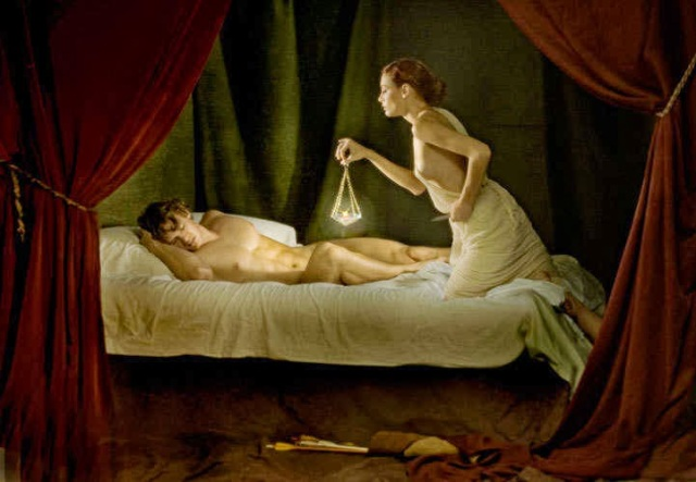 Painting about the myth of Eros (Cupid) and Psyche
