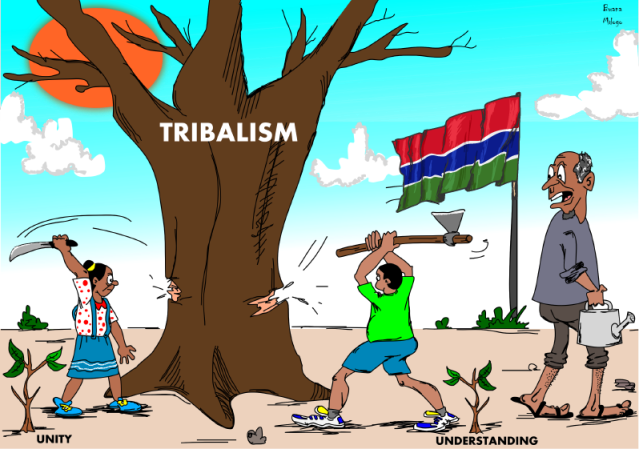 """Cartoon illustration showing """"Breaking Down Tribalism through Enlightened Understanding and a Sense of Unity"""""""