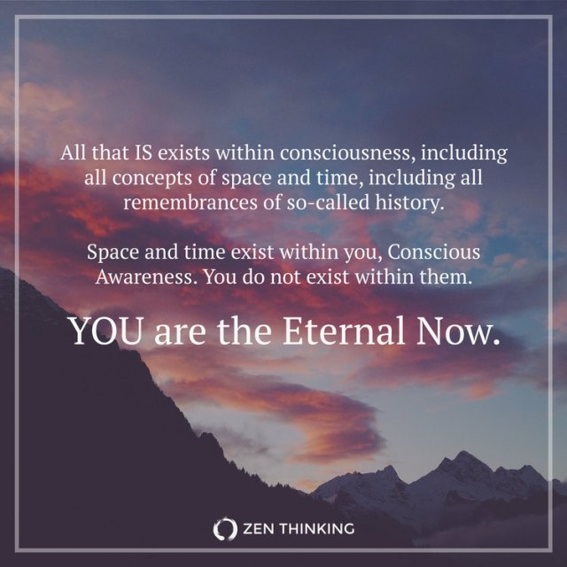 "Zen Thinking poster from a blog dated April 01, 2016, titled ""The Eternal Now"" by Brian Thompson."