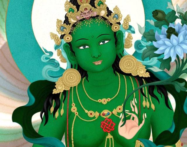 Buddhist Painting Depiction of Green Tara