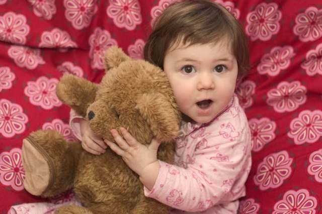 Picture of little girl with Teddy Bear.