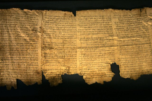 Photograph of a small segment of the Dead Sea Scrolls